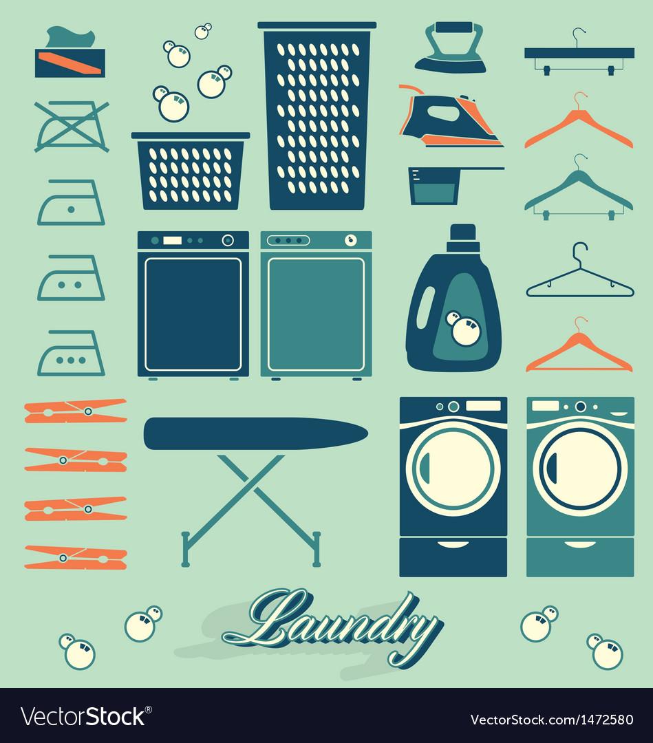 Retro Laundry Room Symbols and Icons vector image