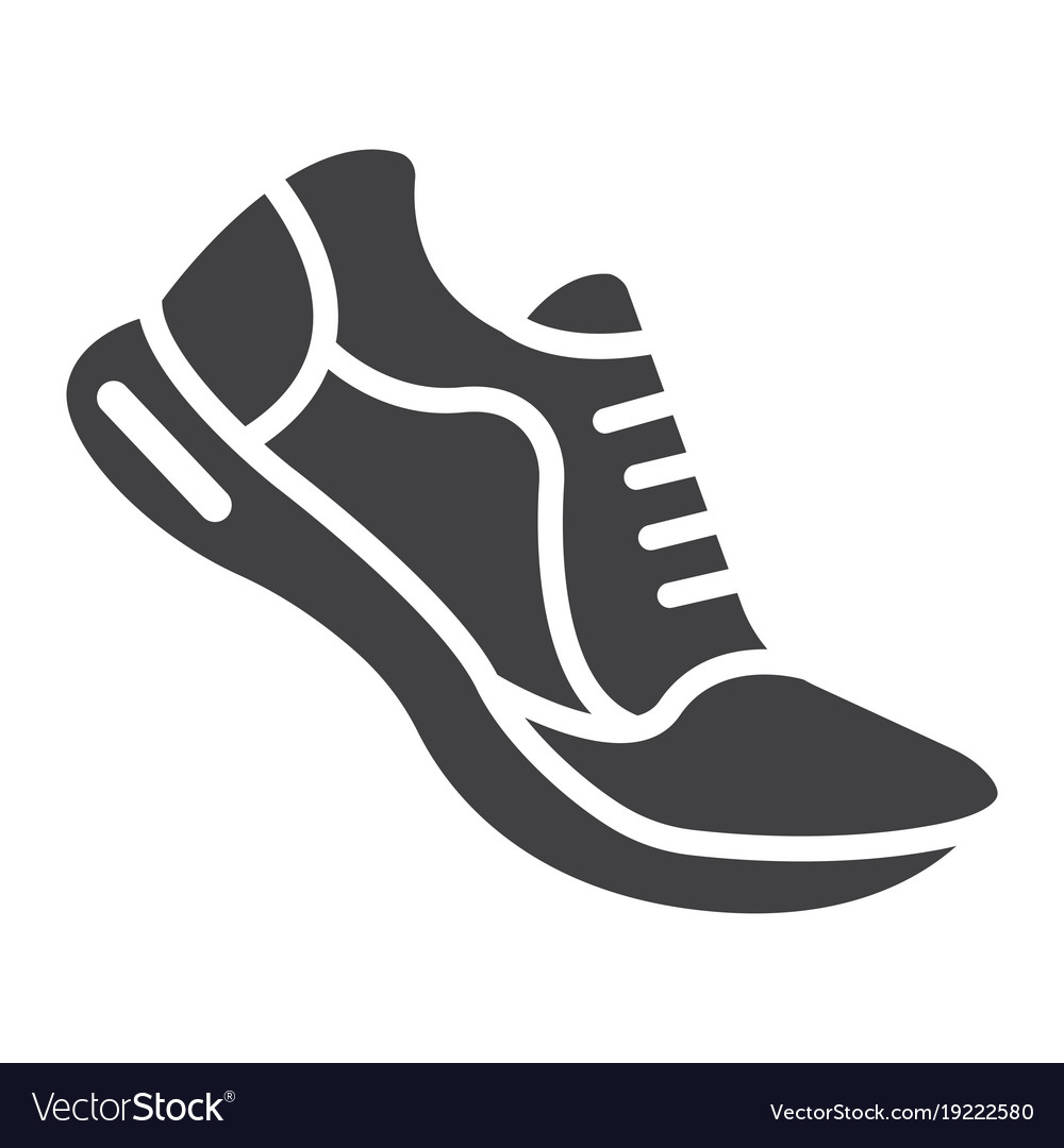 running shoes glyph icon fitness and sport vector image rh vectorstock com running shoe print vector running shoe free vector download
