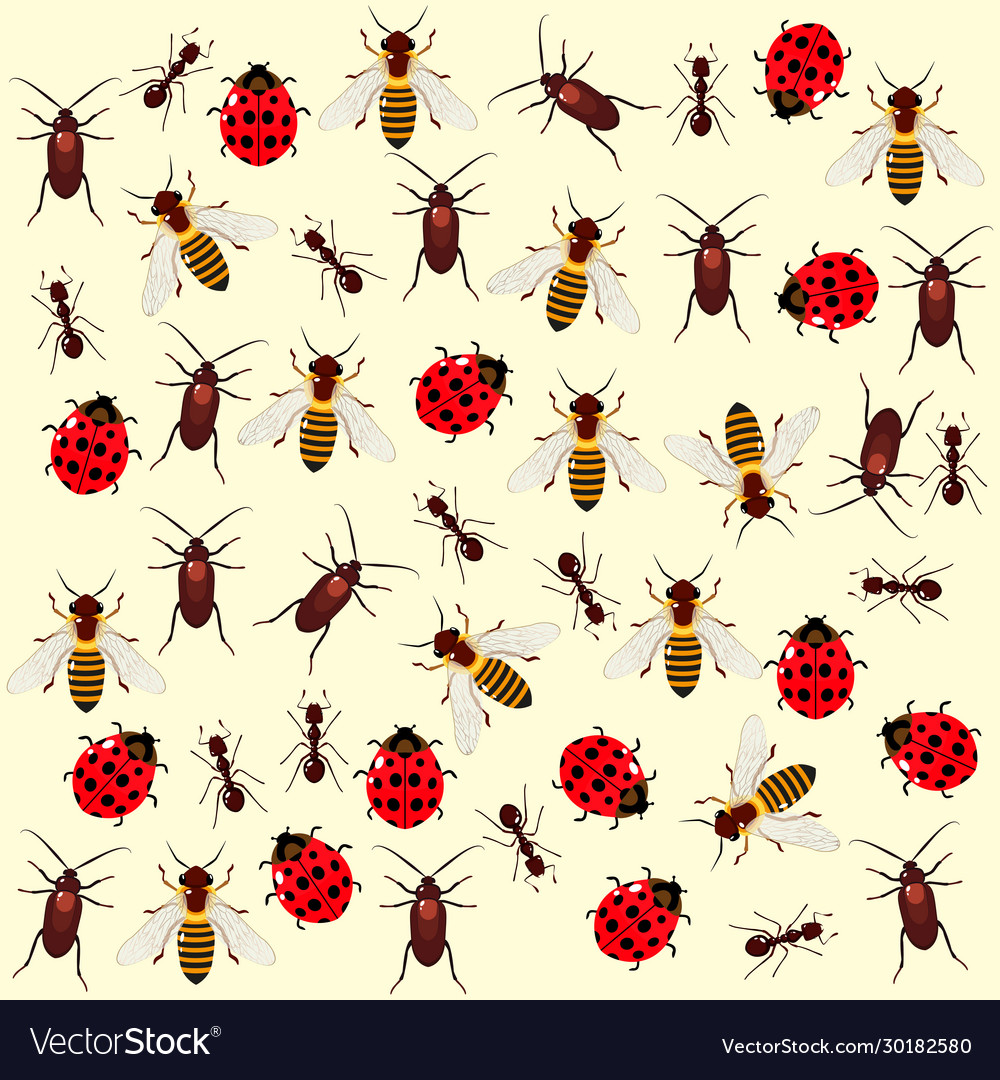 Seamless pattern with colored bugs