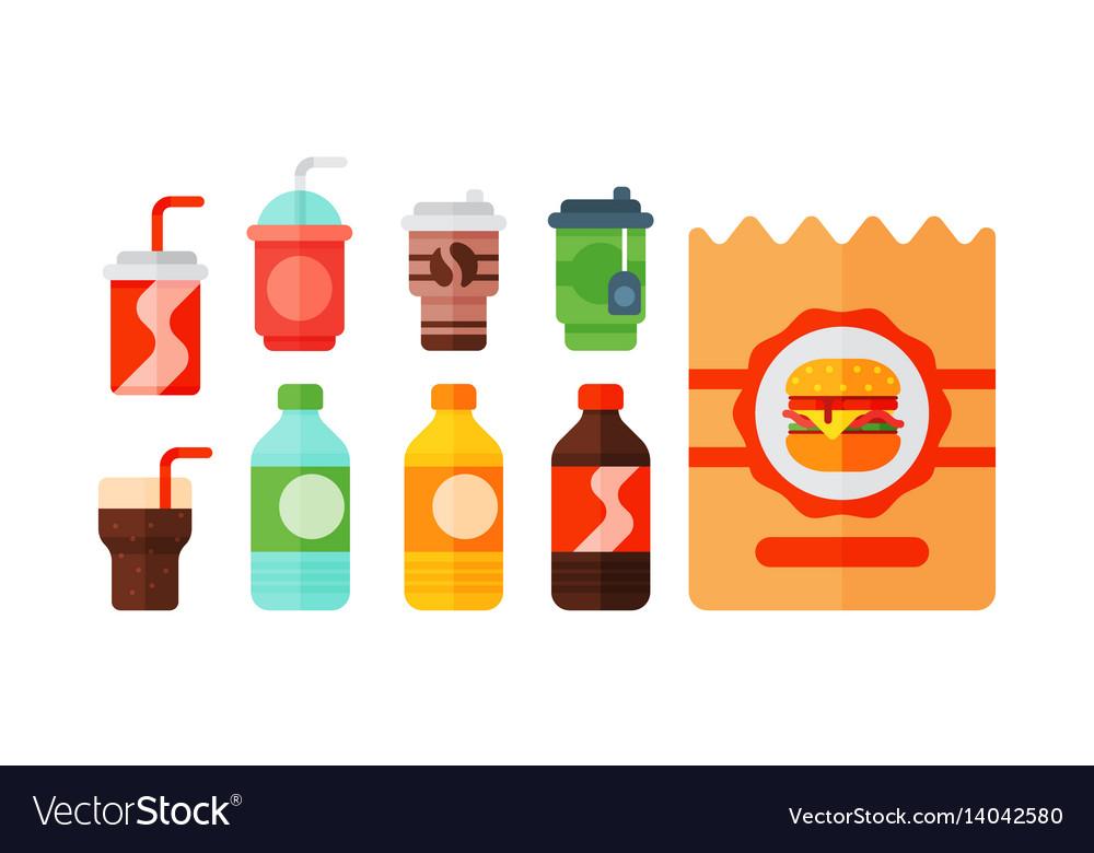 Set of cartoon food non alcoholic beverages tea vector image