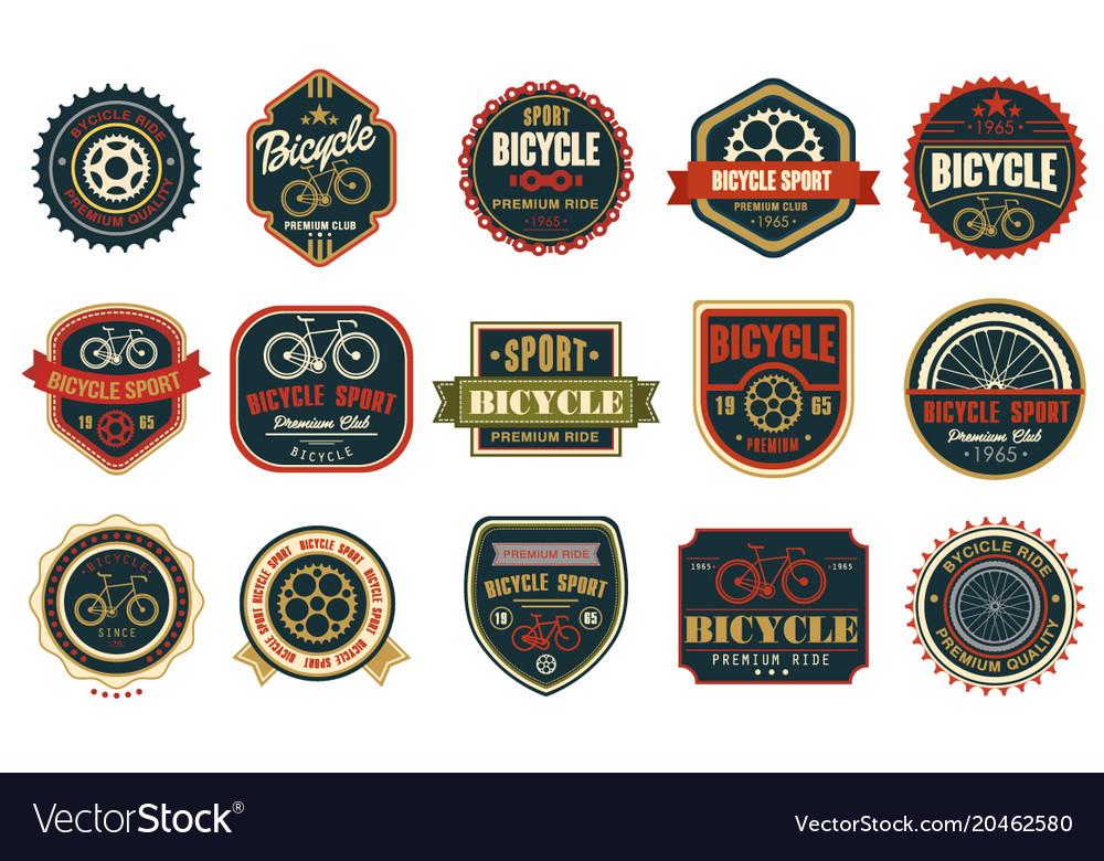 Set of vintage bicycle logos extreme cycling