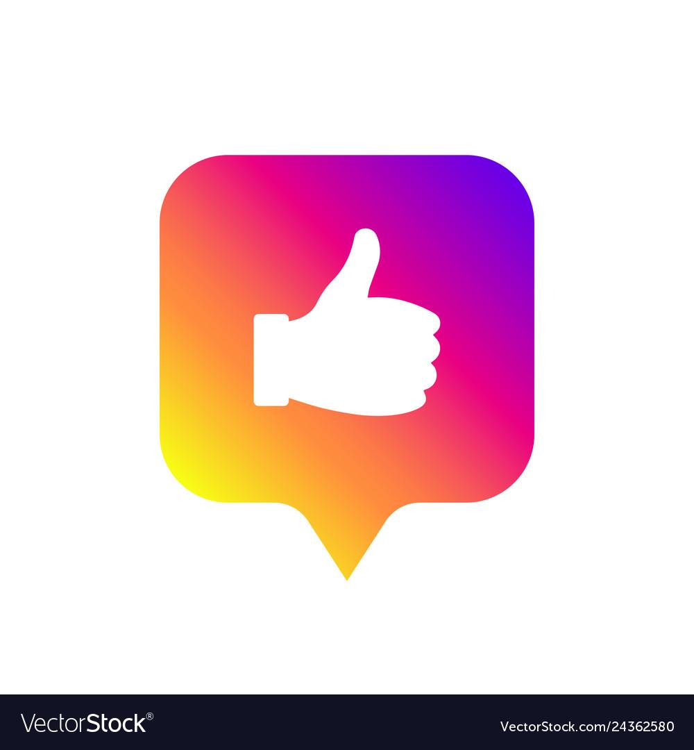 Social media modern like sign gradient color