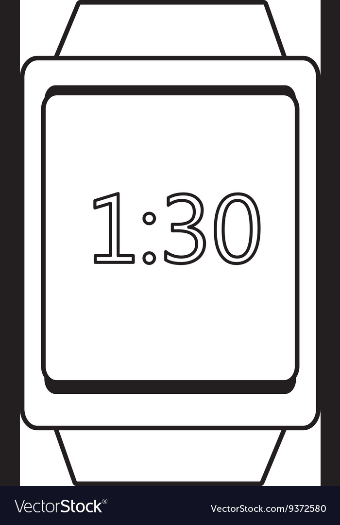 Square watch and time icon graphic