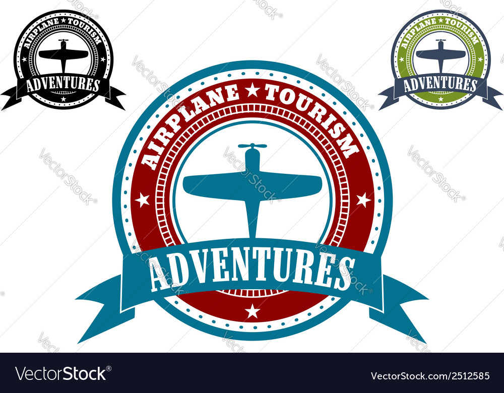 Airplane Tourism emblems vector image