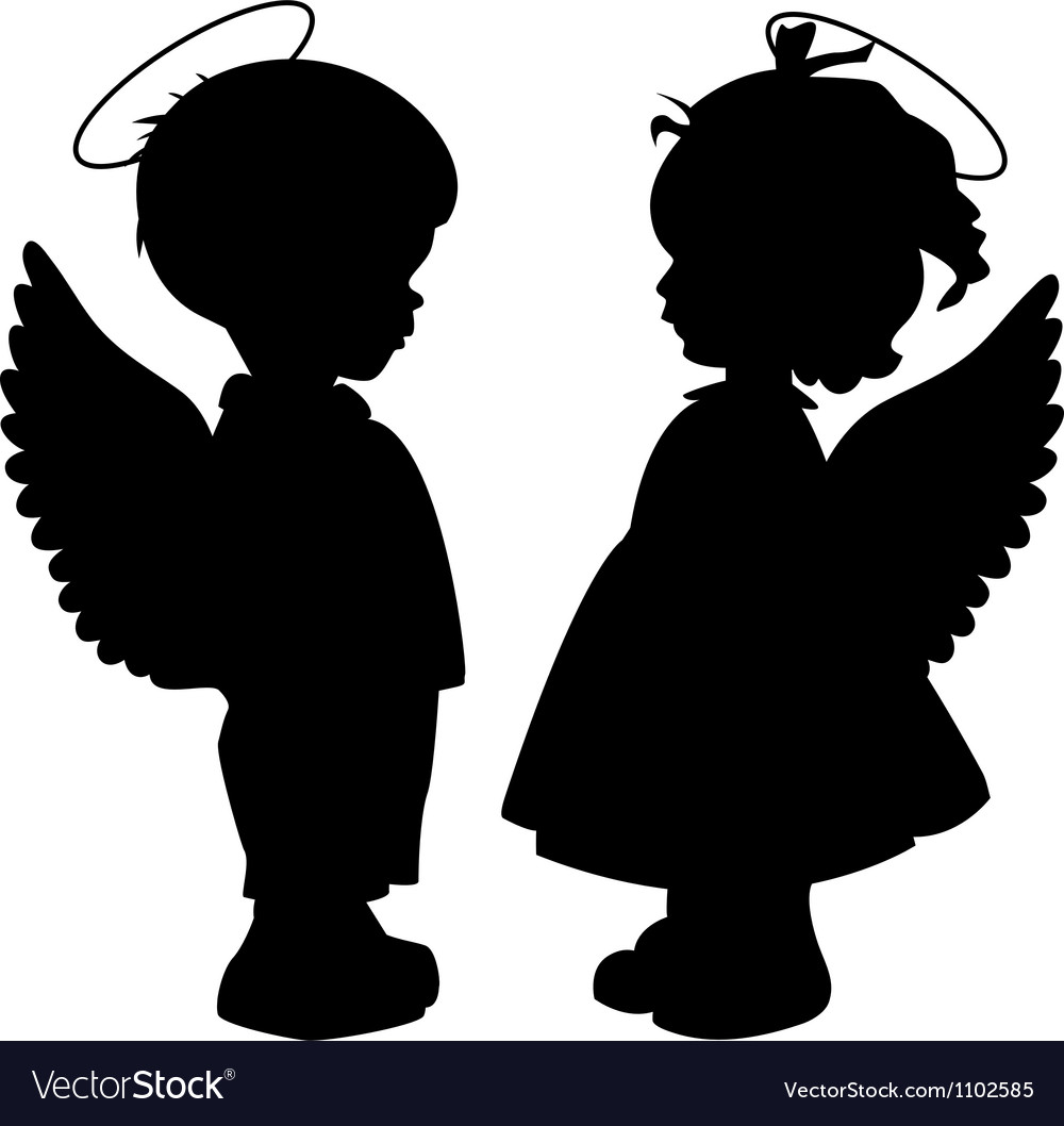 Angel silhouettes set vector image