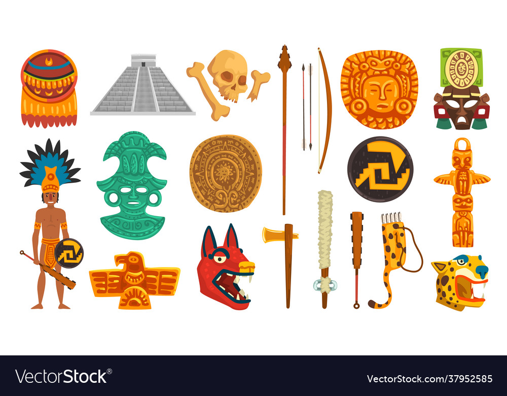 Aztec and mayan civilization cultural objects set