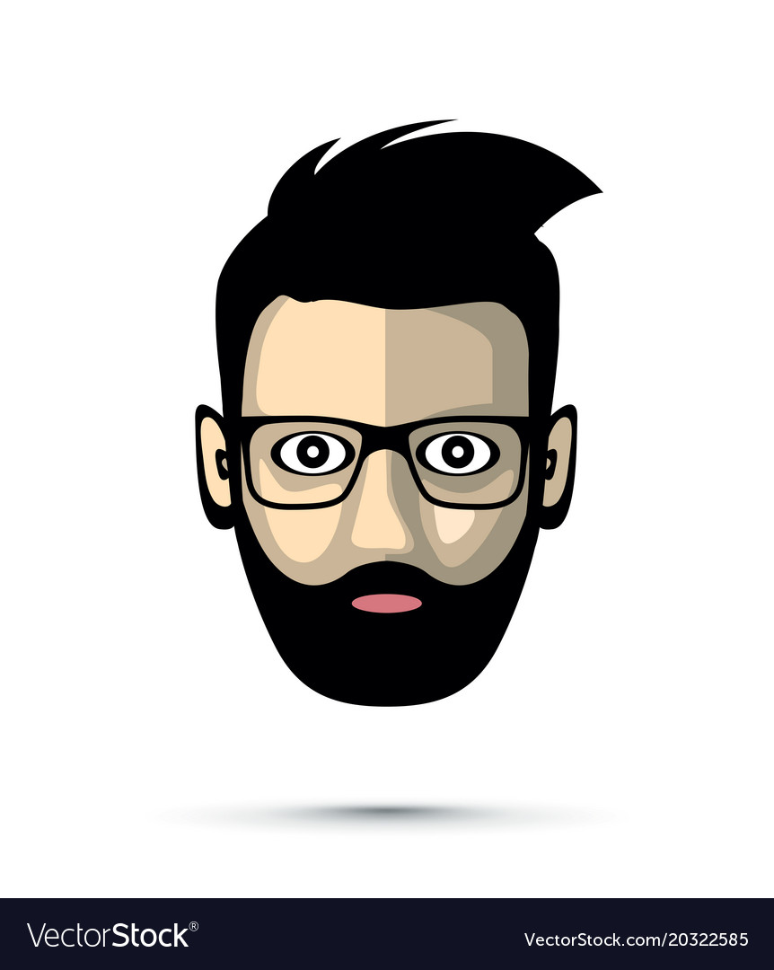 bearded man with sunglasses icon royalty free vector image
