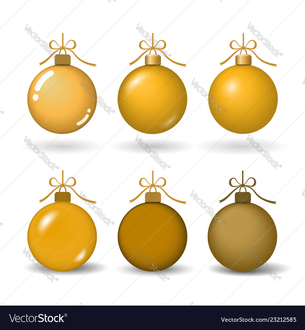 Christmas tree ball with gold ribbon bow golden