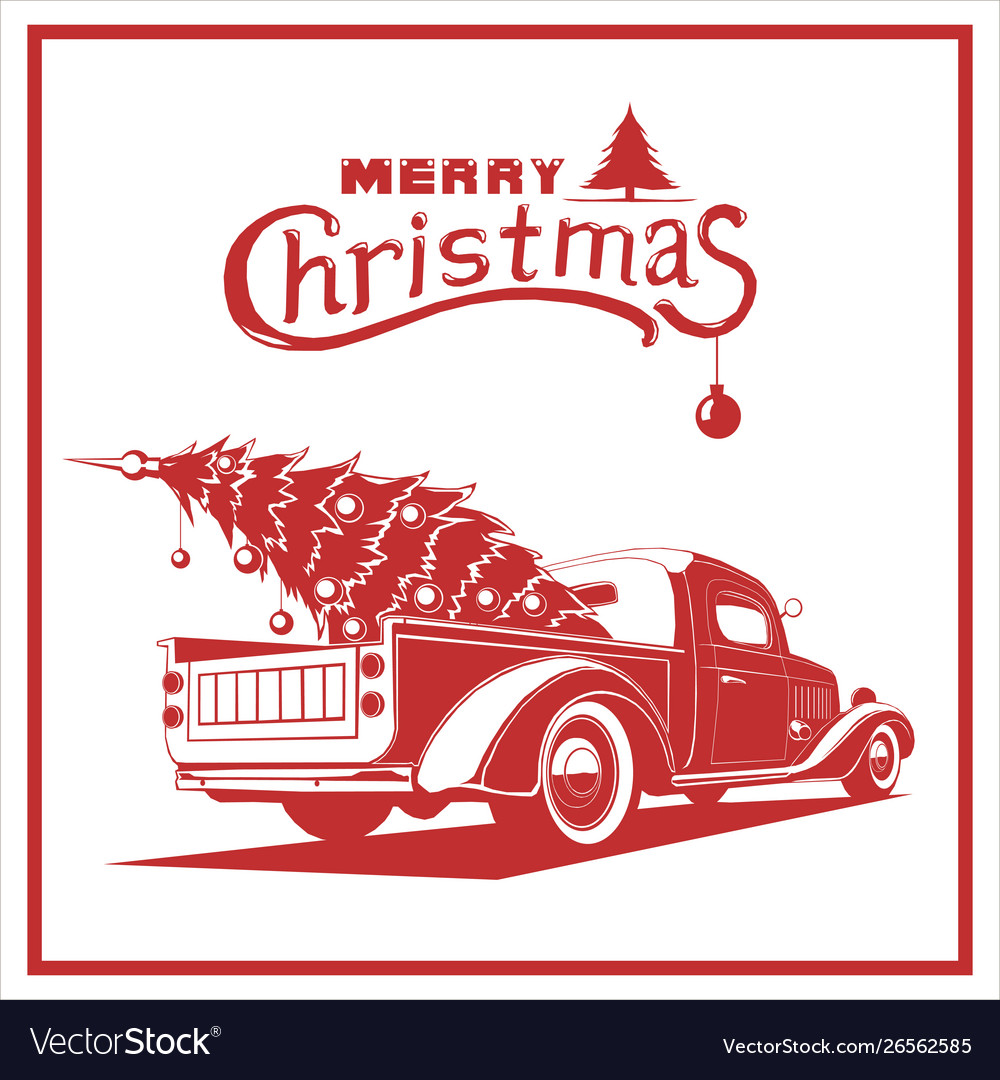 Christmas truck red color image old card