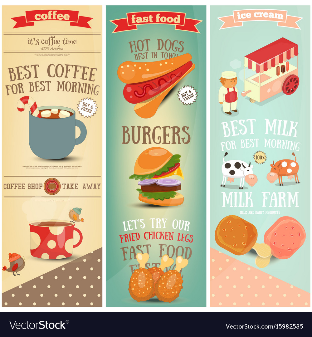 Coffee fast food ice cream banners vector image