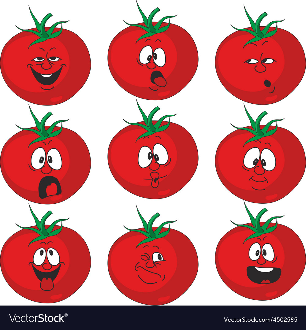 Emotion cartoon red tomato vegetables set 015