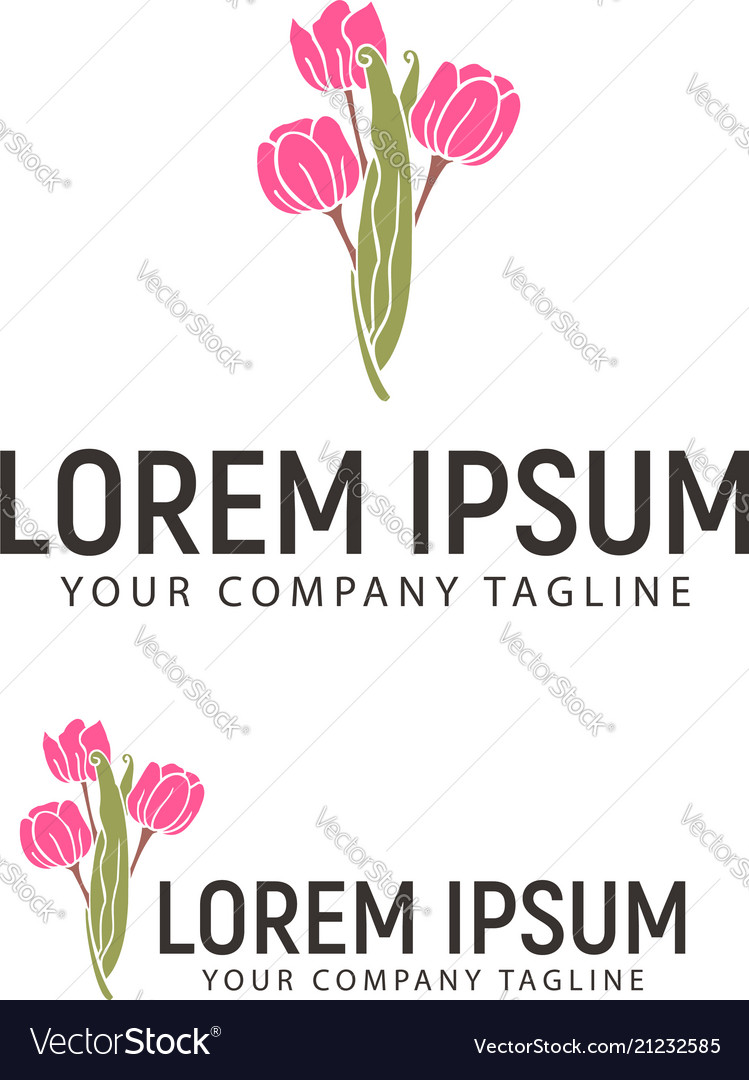 Flower hand drawn logo design concept template
