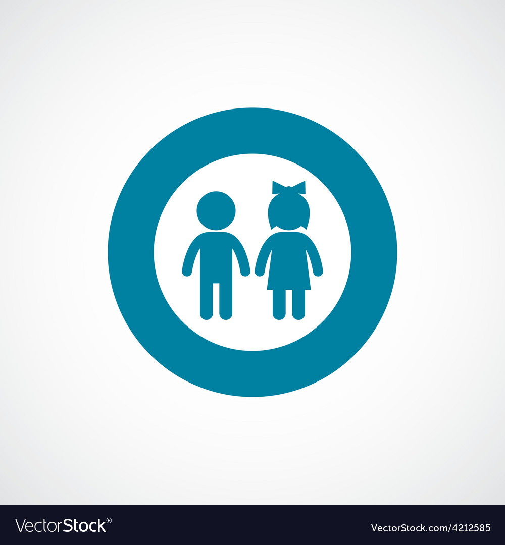 Girl and boy icon bold blue circle border