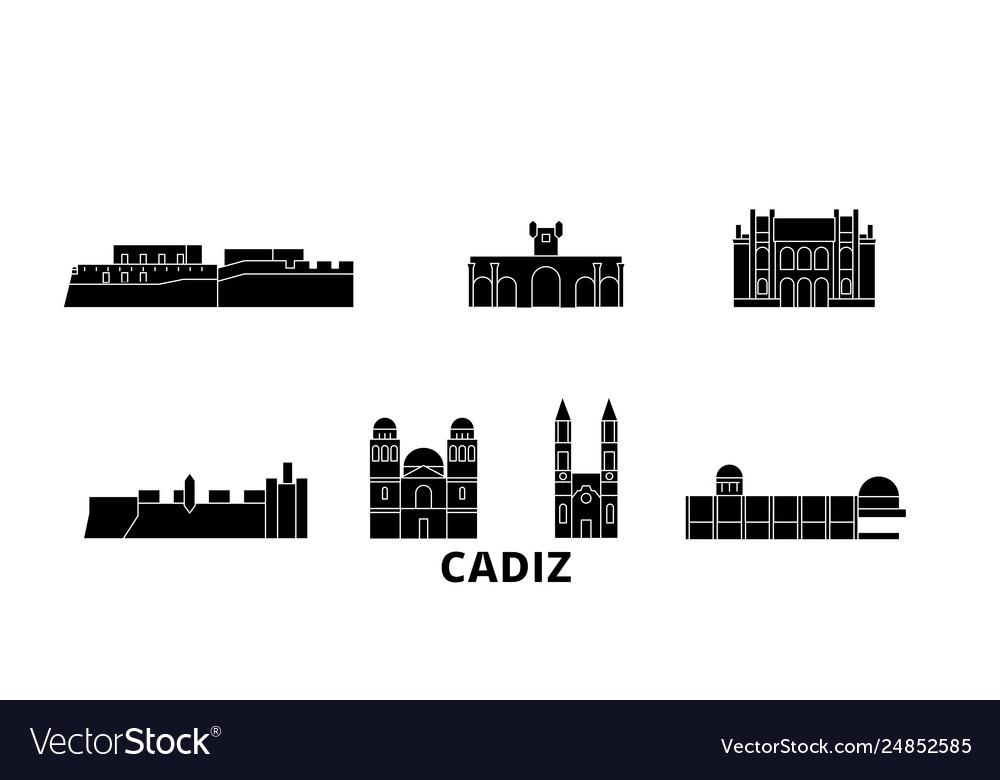 Spain cadiz flat travel skyline set spain cadiz