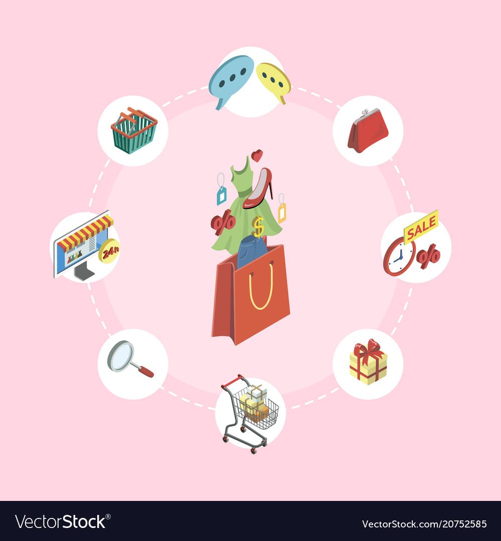 Supermarket online shopping isometric infographics