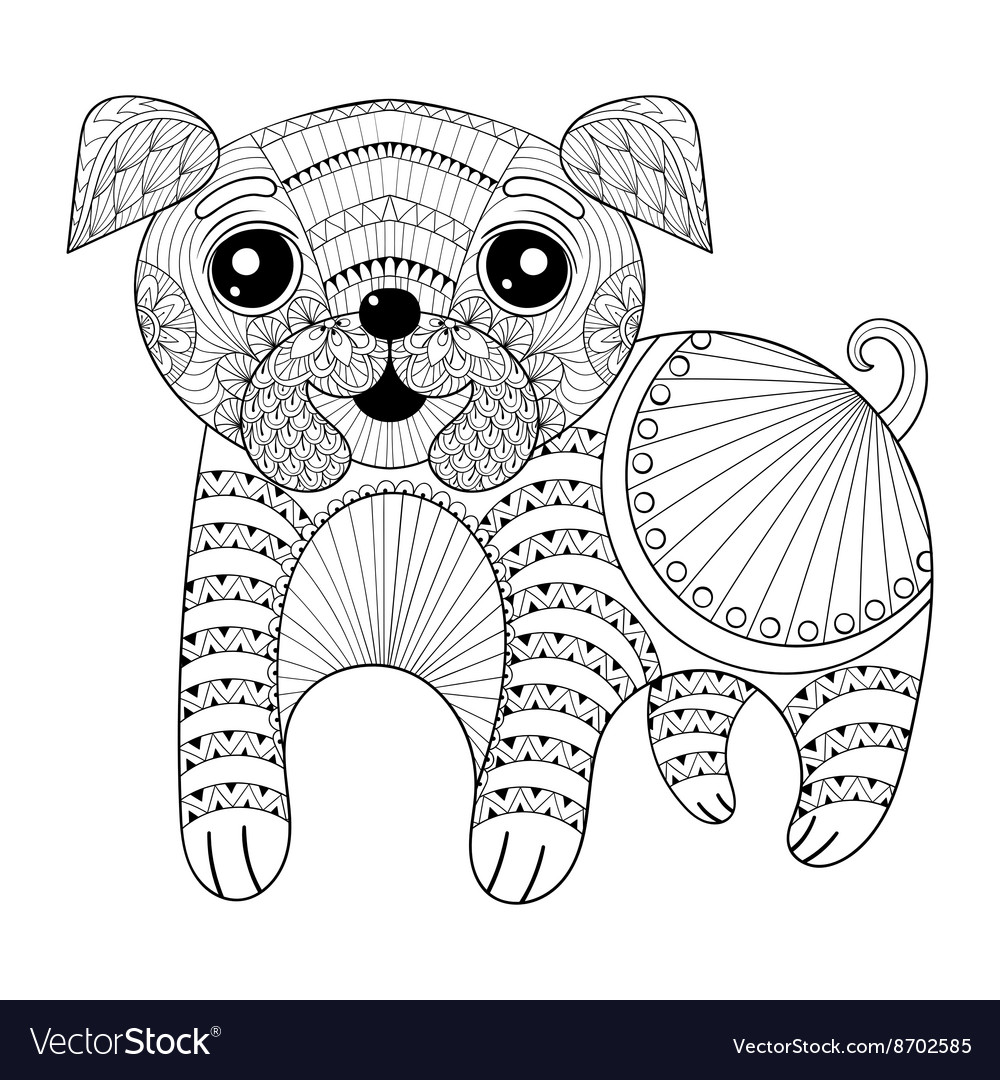 Zentangle Hand drawing Dog for antistress coloring