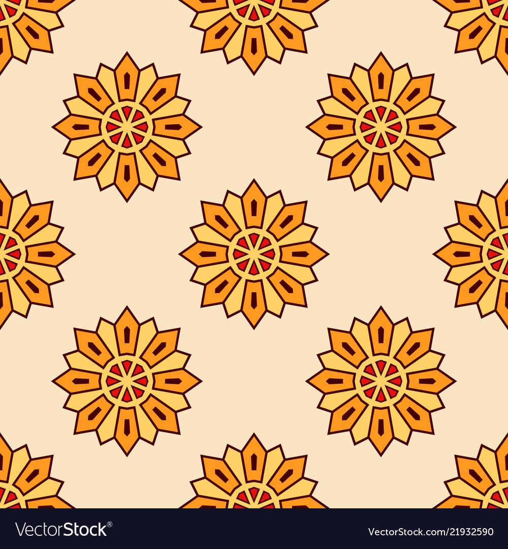 Abstract seamless orange color floral mandala