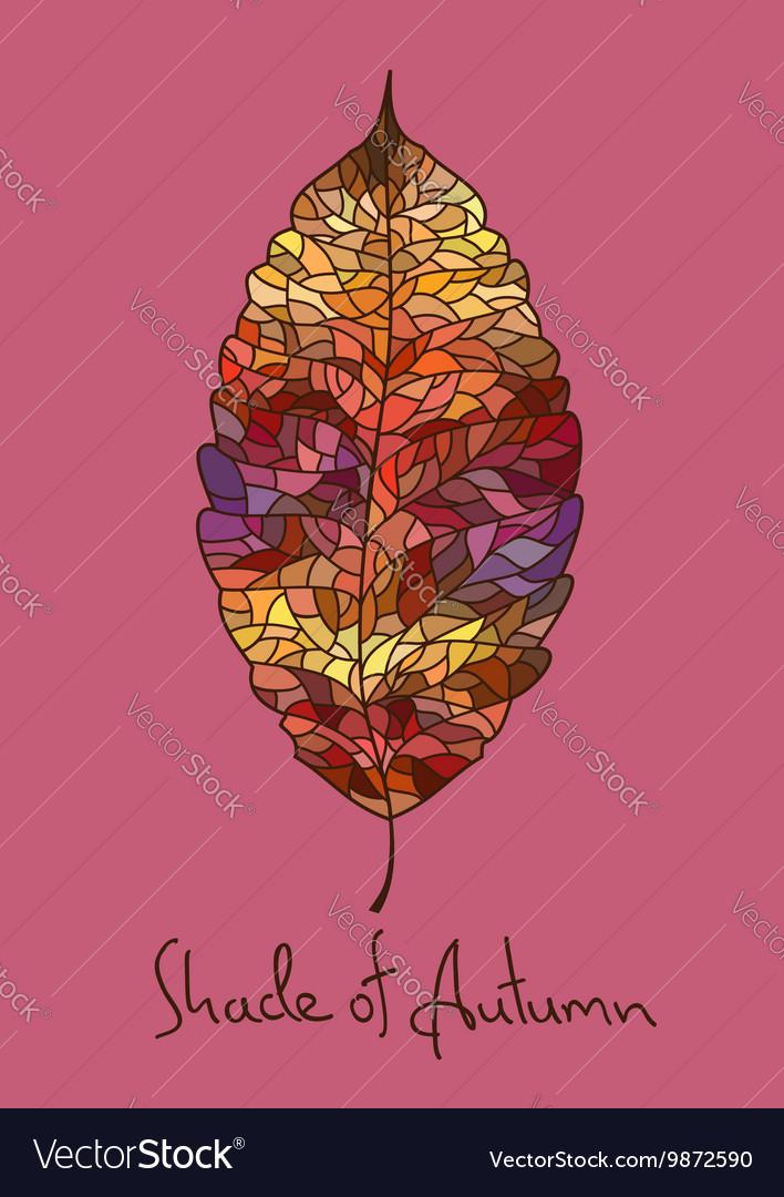 Autumn leaf made of mosaic