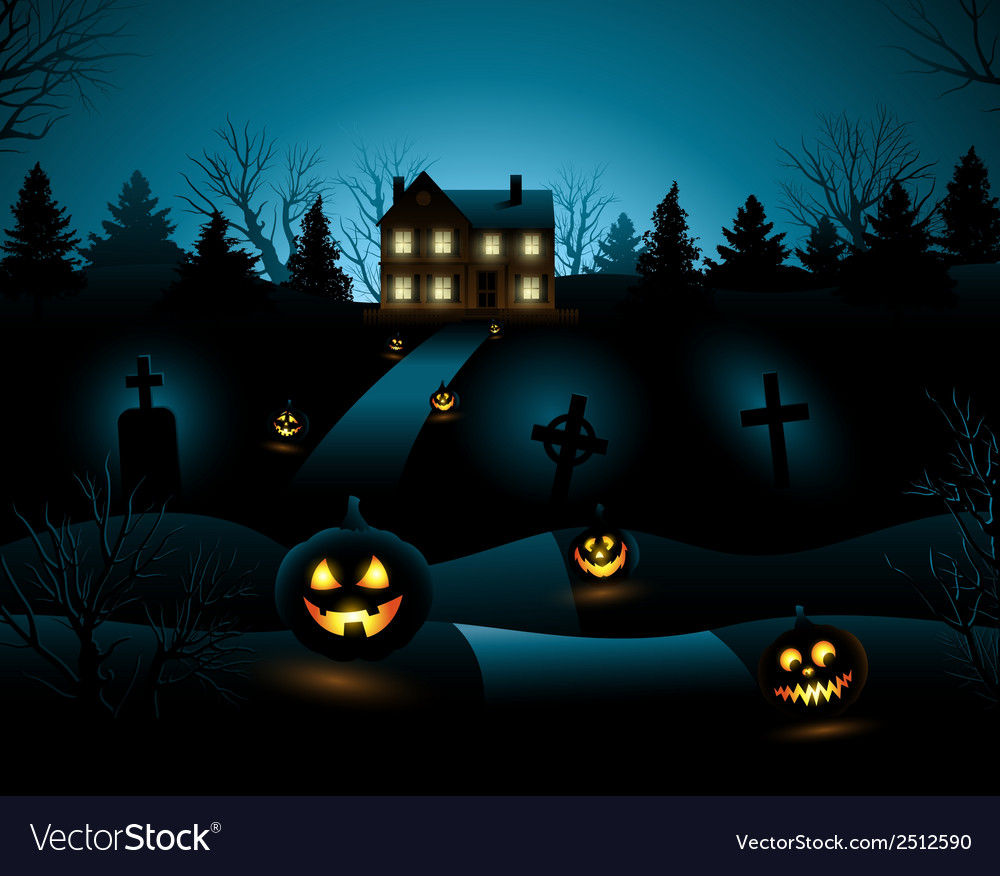Blue Halloween Invitation Haunted House Background Vector Image