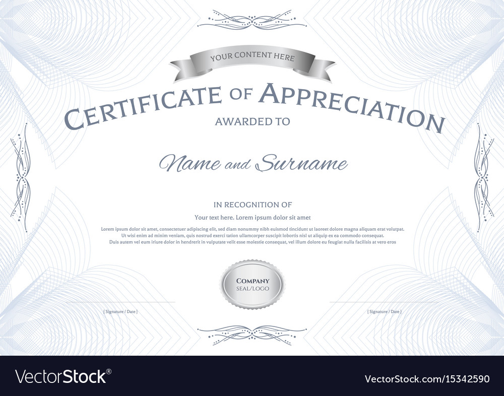 Certificate Of Appreciation Template With Silver Vector Image