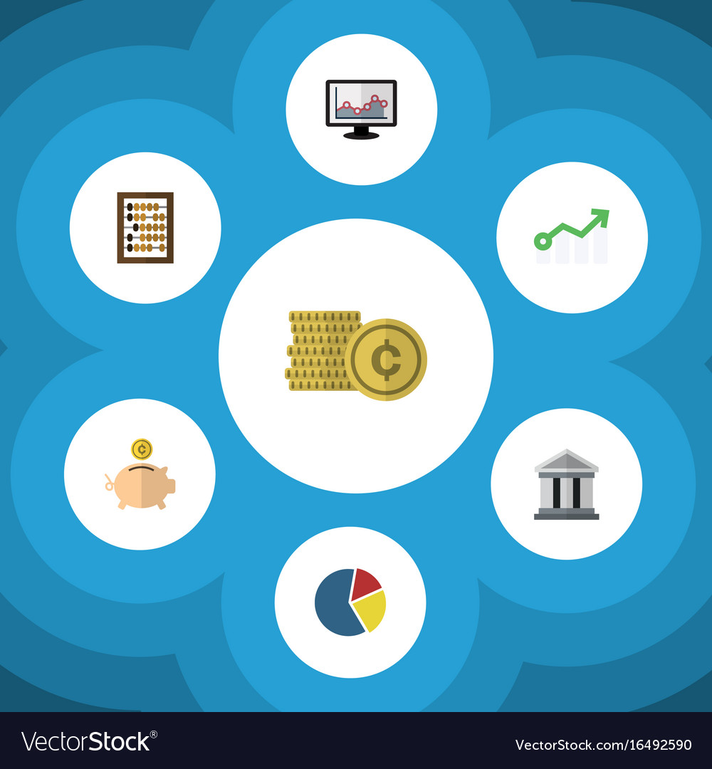 Flat Icon Gain Set Of Money Box Growth Chart And Vector Image