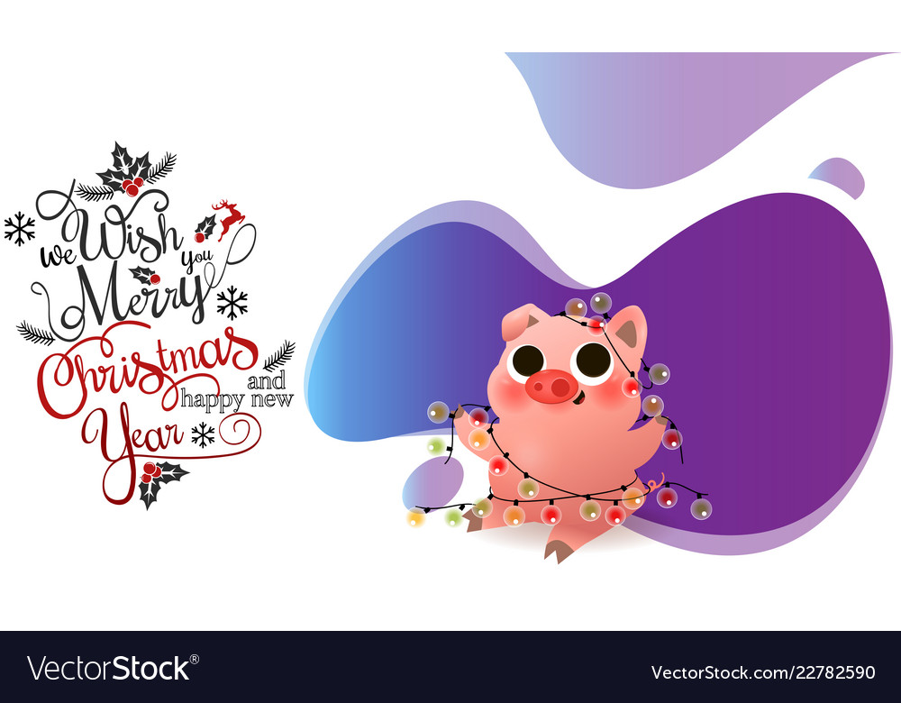 Funny smiling piggy sitting with garland card