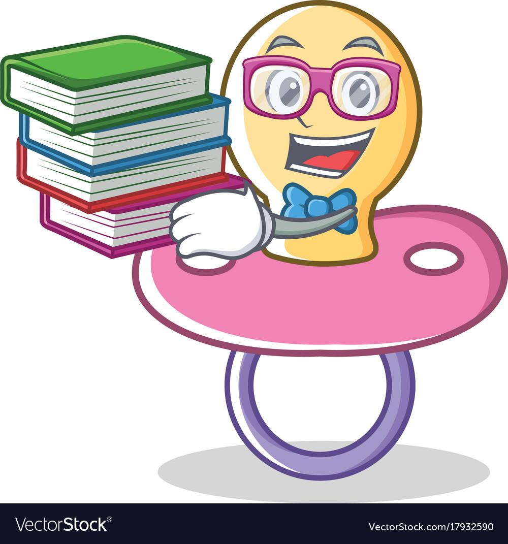geek baby pacifier character cartoon royalty free vector rh vectorstock com cartoon pacifier image pacifier cartoon drawing