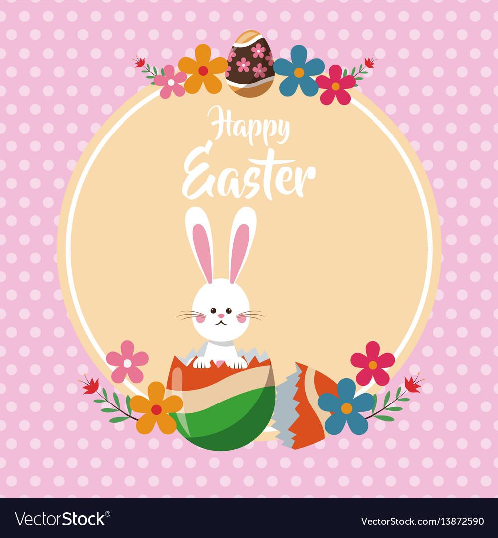 Happy easter bunny broken egg floral dots