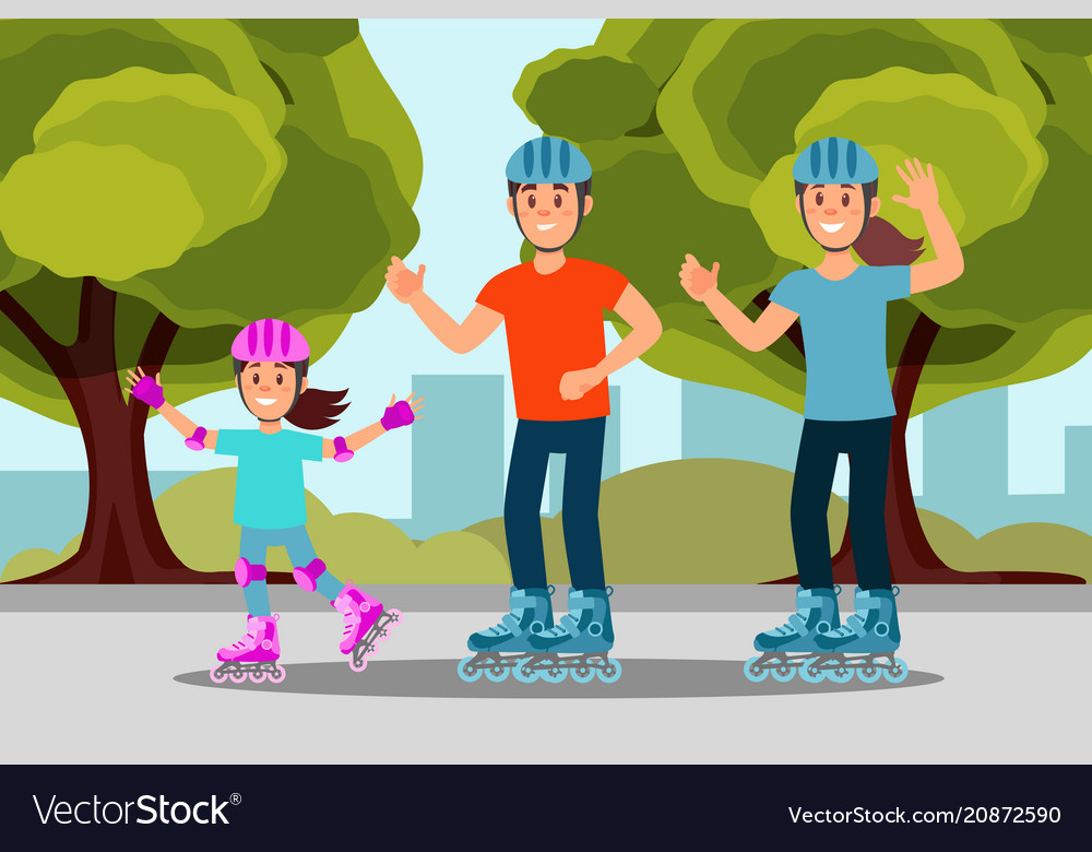 Happy family riding roller skate in park outdoor