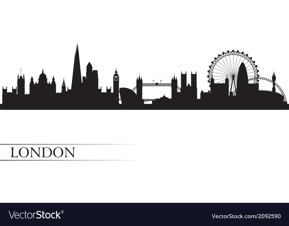 London City Skyline Silhouette Background Vector Image