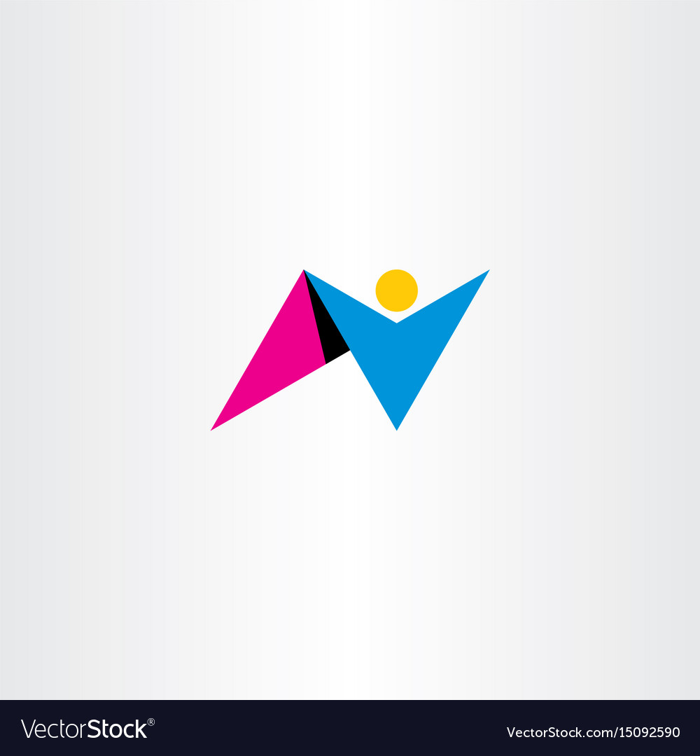 Man letter n logo design icon symbol