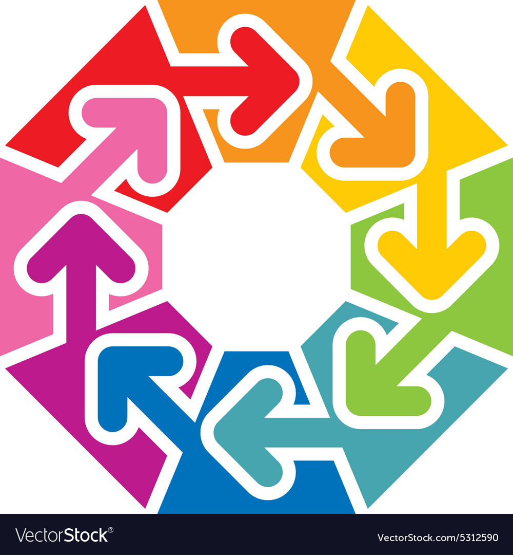 Octagon arrow colorful space rainbow design vector image