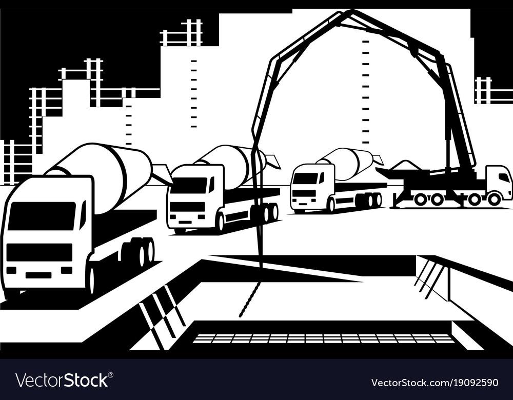 Pouring concrete on construction site vector image