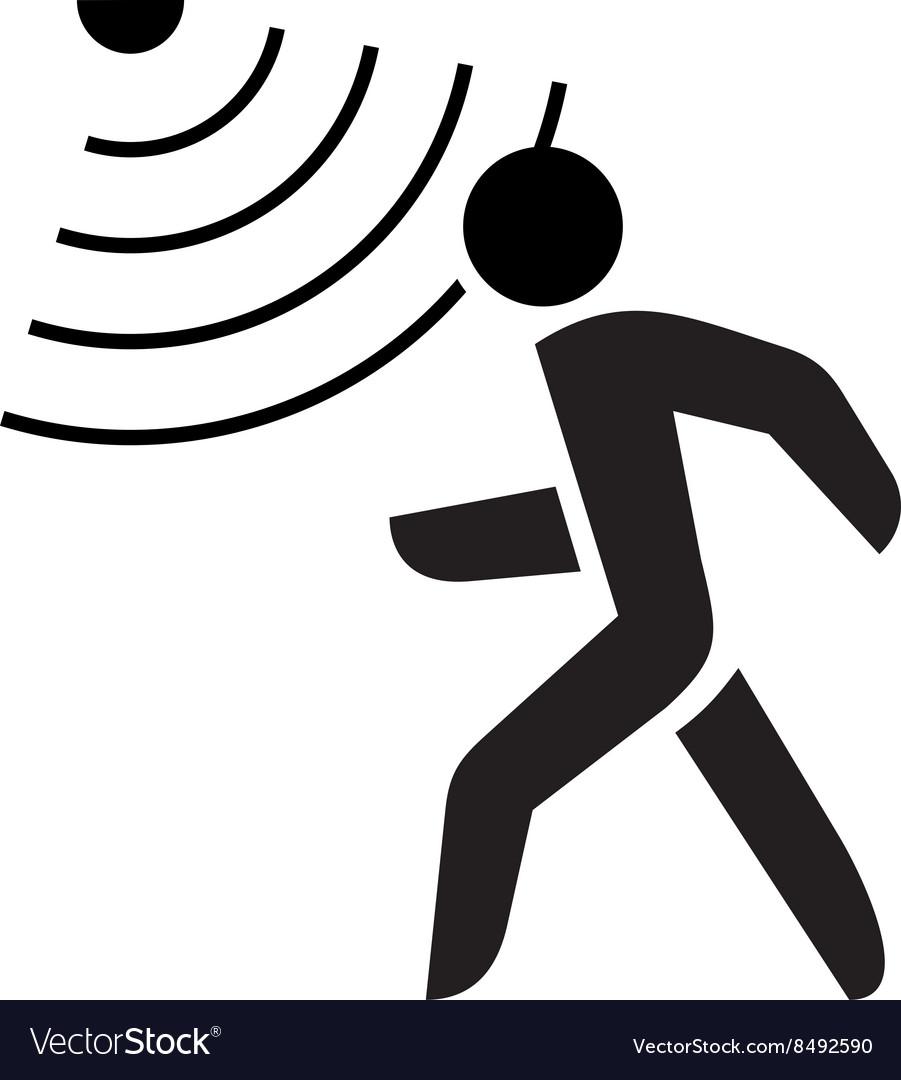 Walking Man Symbol With Motion Sensor Waves Signal