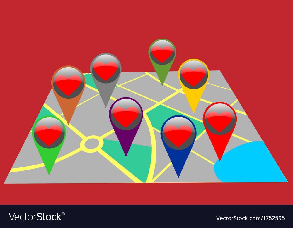 Assistance destination map pins vector image