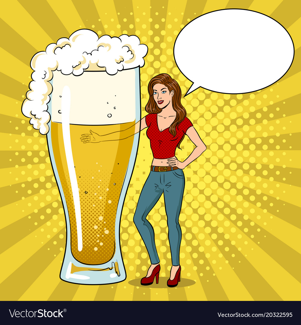 Beauty young woman with beer pop art