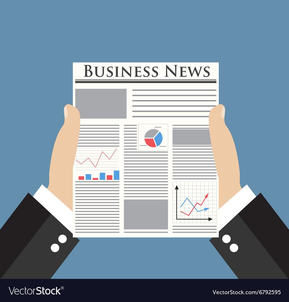 Businessman holding Business News newspaper