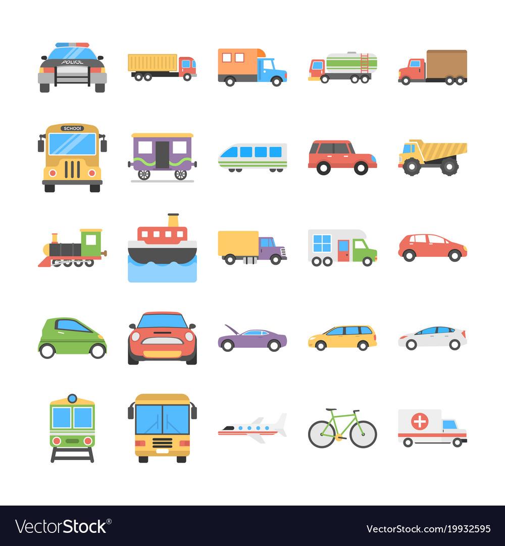Creative flat icons set of transport