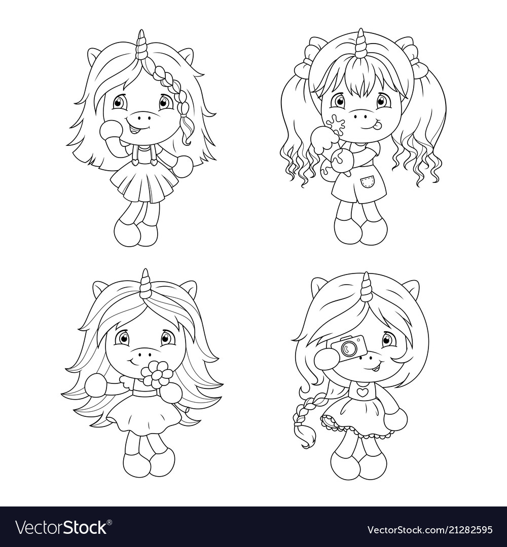 Cute baby unicorns coloring page for girls
