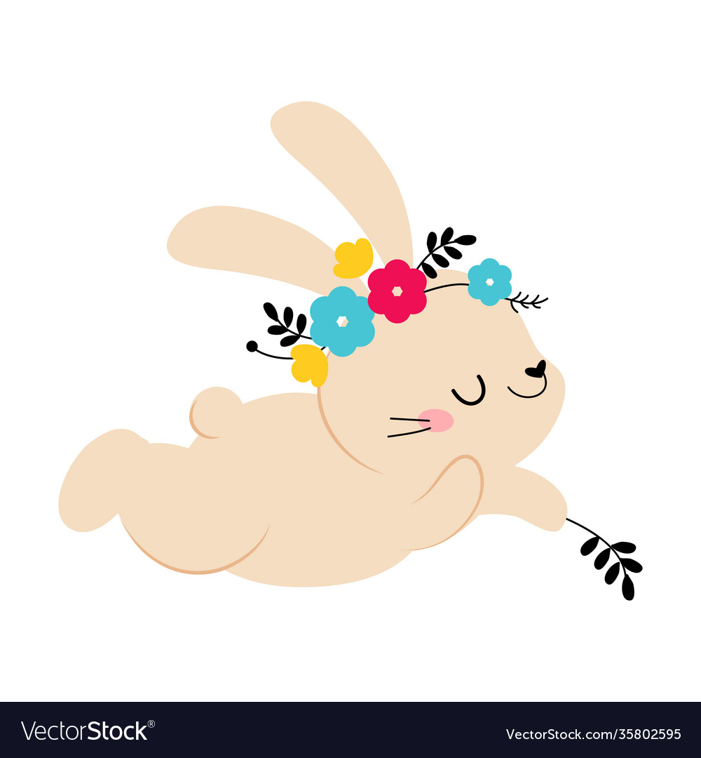 Cute little bunny in wreath spring flowers
