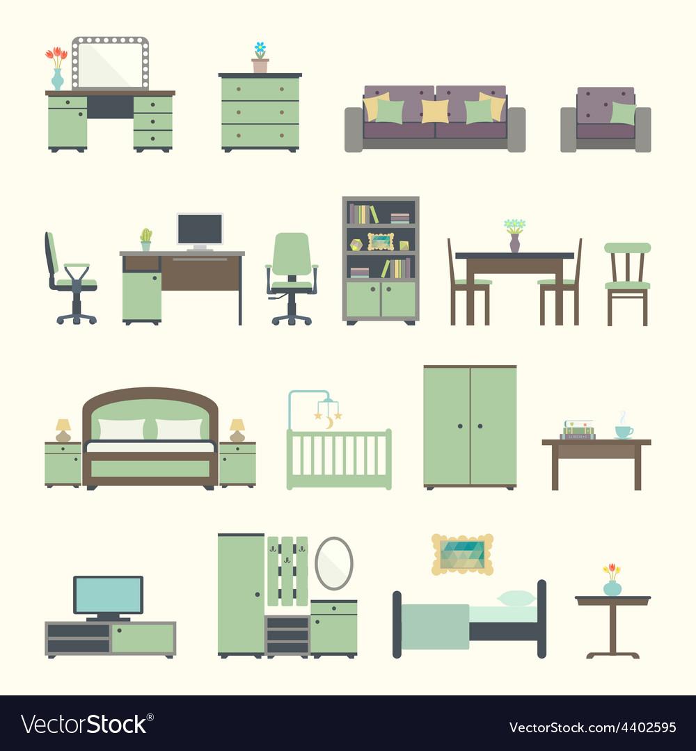 Furniture interior flat icons vector image