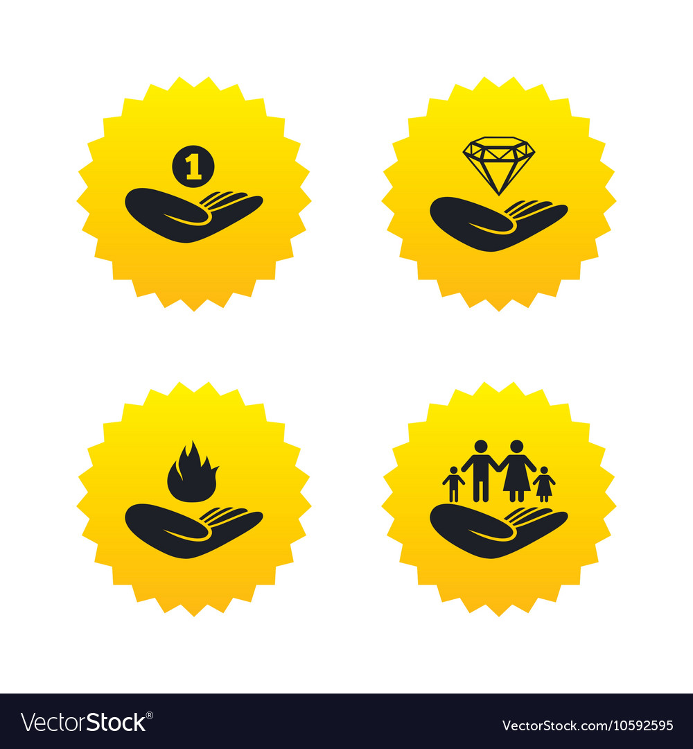 Helping hands icons Protection and insurance vector image on VectorStock