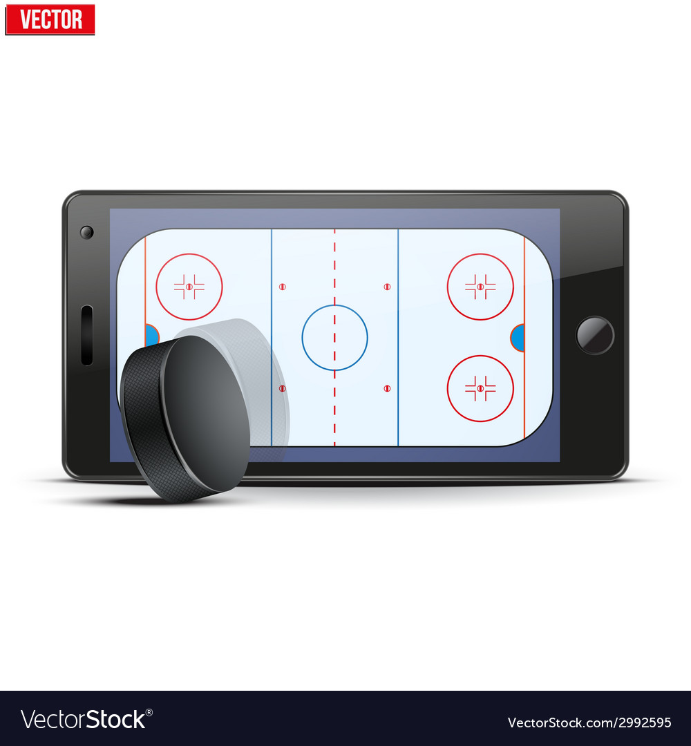 Mobile phone with ice hockey puck and field on the