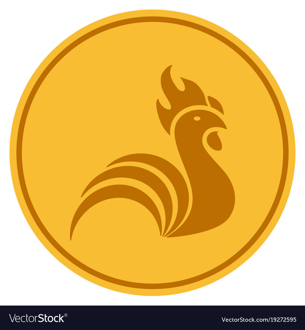 Rooster Gold Coin Vector Image