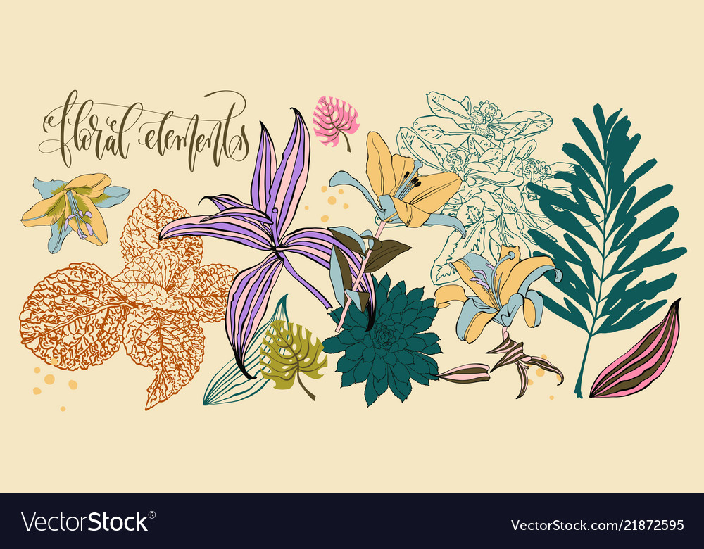 Set flowers and leaves in a realistic and