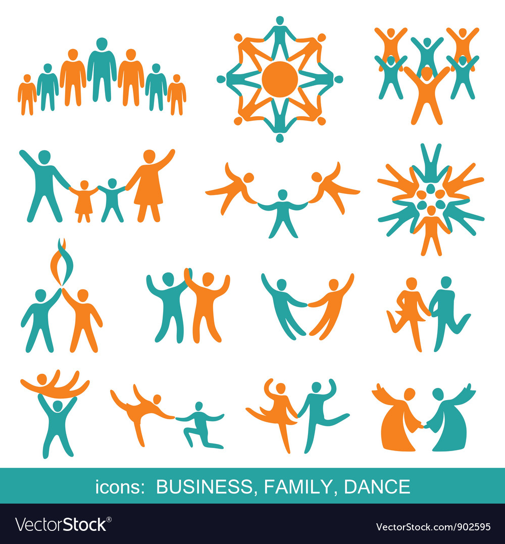 Set of icons business family dance