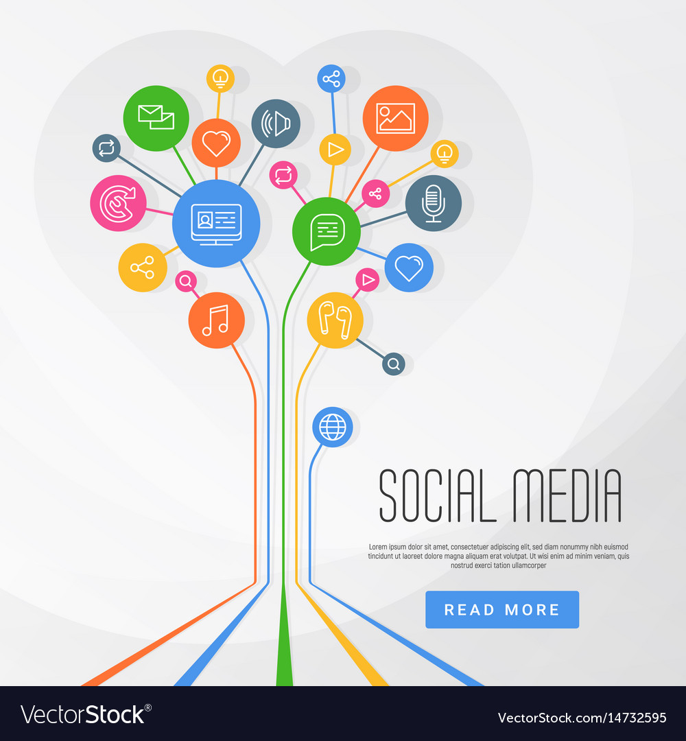 Social media infographics circles with flat icons