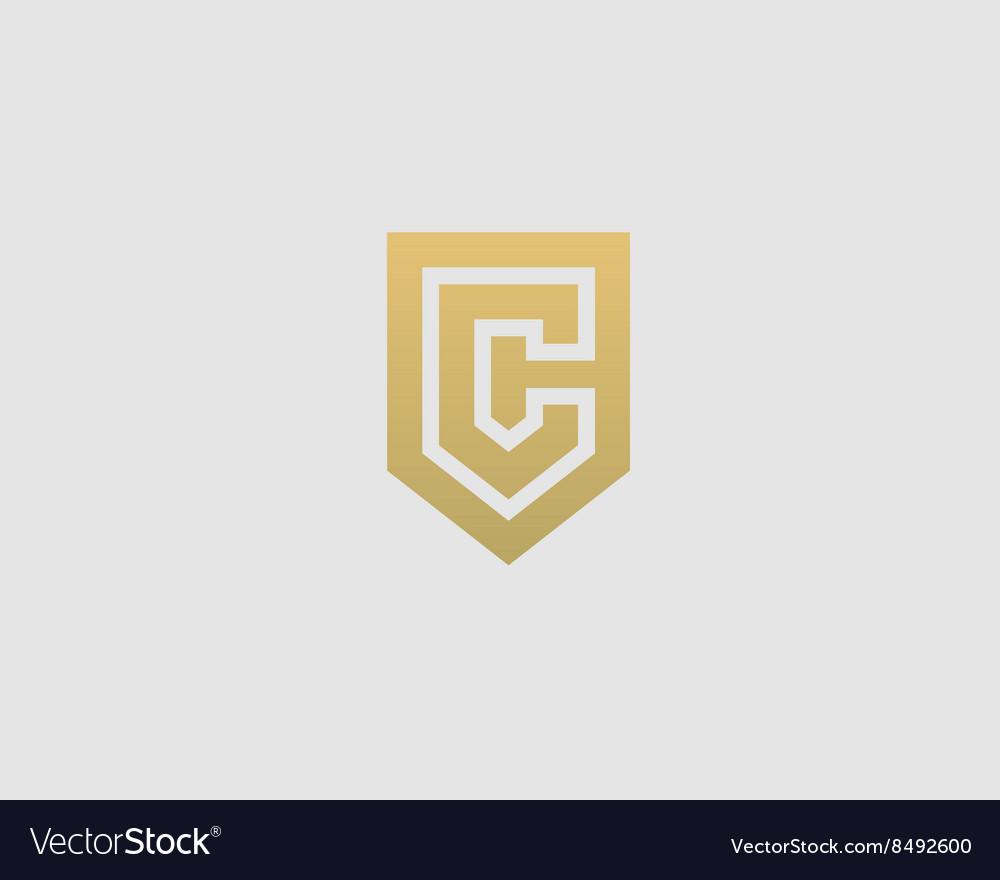 abstract letter c shield logo design template vector image