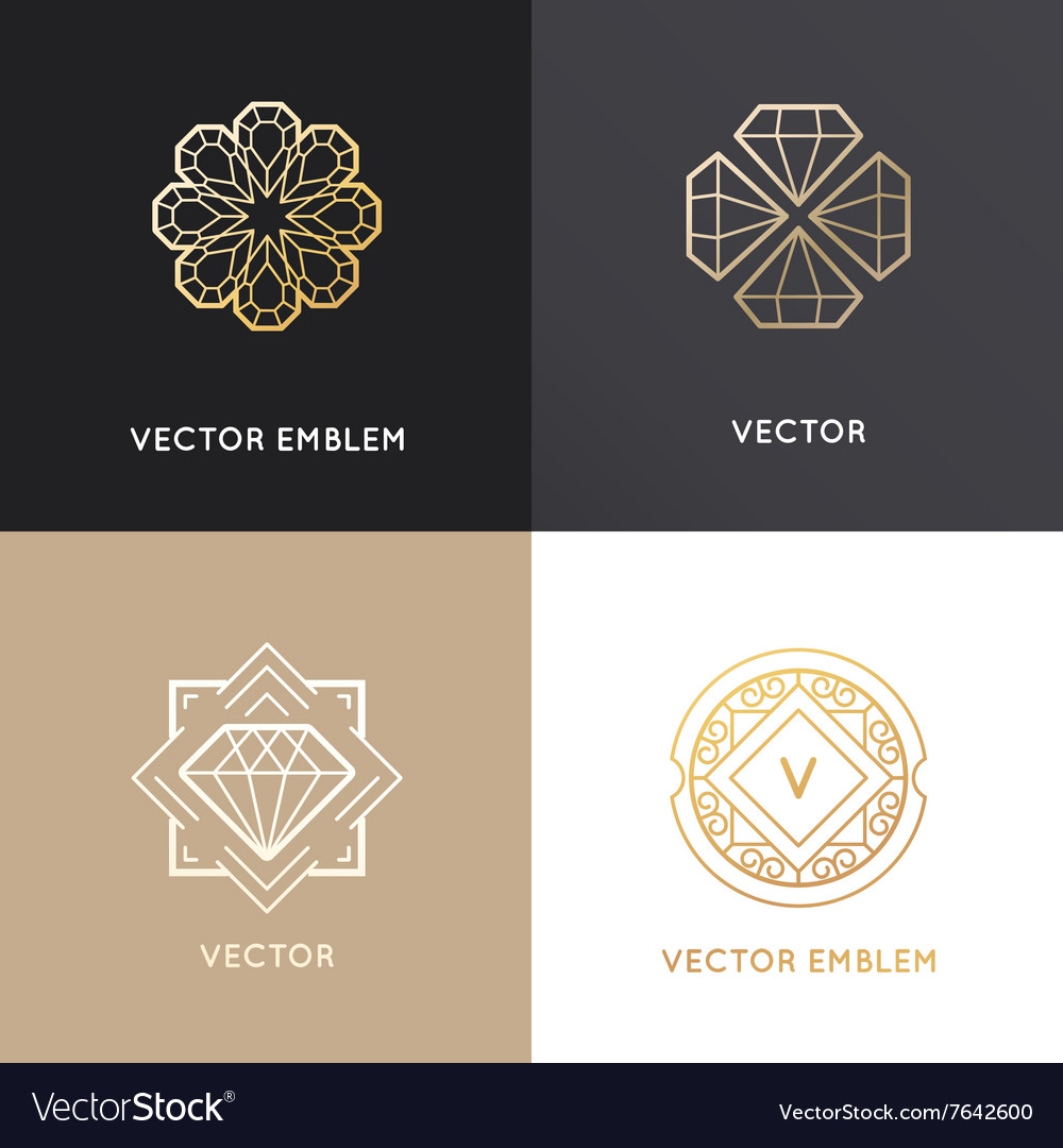 Abstract logo design templates in golden colors