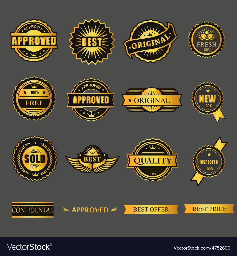 Badges tag label sticker gold set for business